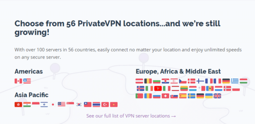 PrivateVPN - servers and locations - 2019 review